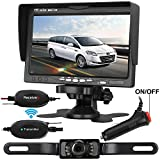 Emmako Backup Camera Wireless and Monitor Kit For Car/SUV/Truck/Van/Camper 9V-24V Reverse Camera System Night Vision IP68 Waterproof Licence Plate Camera 7'' TFT Display With Guide Lines