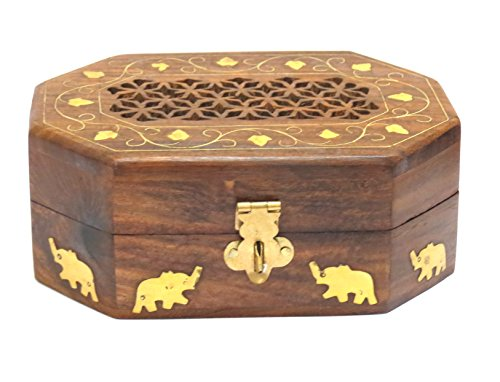 Affaires Wooden Jewelry Box/Organizer Hand Carved with Intricate Carvings Gift By W-40143