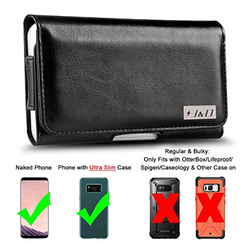 J&D Holster Compatible for Galaxy A60/Galaxy S10 Plus/S9 Plus/S8 Plus/Galaxy J4 Plus/Galaxy J7 Max Holster, PU Leather Pouch Case w/Belt Clip, Leather Wallet Case (Fit with Naked Phone/Slim Case On)