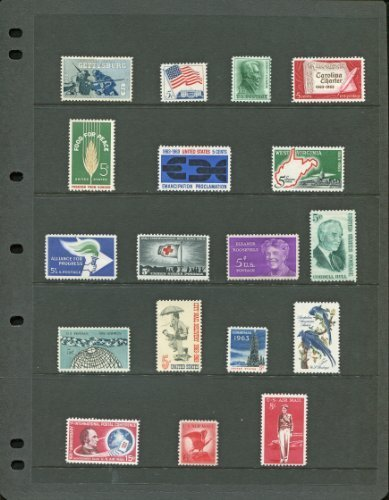 COMPLETE MINT SET OF POSTAGE STAMPS ISSUED IN THE YEAR 1963 BY THE U.S. POST OFFICE DEPT. (Total 18 - Usps International Delivery