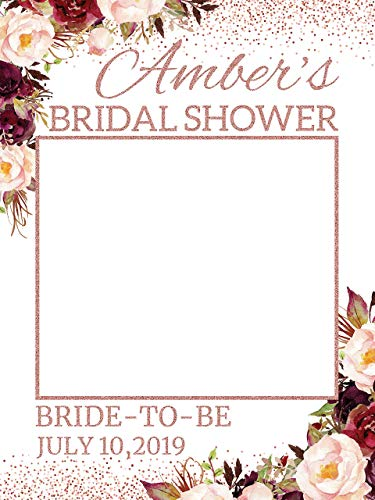 Rose Gold Wedding Bridal Shower Photo Booth Frame - Sizes 36x24, 48x36; Personalized Floral, Flower Bridal Shower Decorations, Wedding photobooth, photo prop, Bride to be,Handmade Party Supplies
