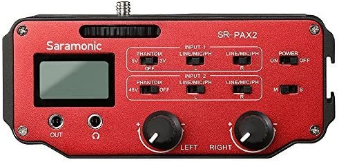 Saramonic SR-PAX2 Audio Mixer Adapter Preamplifier Two XLR and Two 3.5mm Jack Interface for DSLR /& Mirrorless /& Blackmagic Design Pocket Cinema Cameras Audio Recording