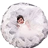 Pretydress Baby Girls Princess Dress Christening Baptism Party Formal Dress (Ivory, 0-3 Months)