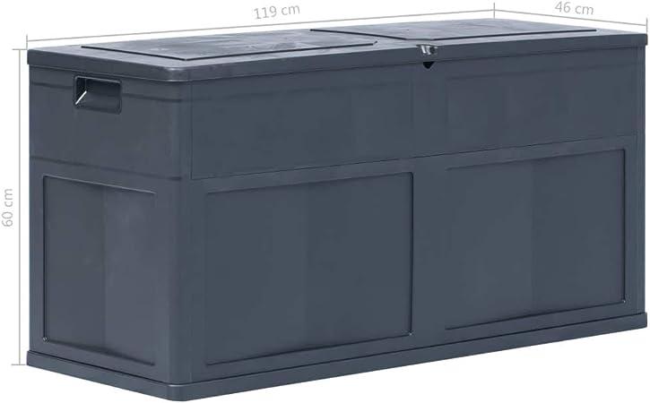 mewmewcat Caja de Almacenamiento de Jardín Baul Almacenamiento Arcón Exterior Capri 119 x 46 x 60 cm Negro 320 L: Amazon.es: Deportes y aire libre