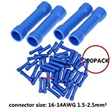 Ltvystore 200PCS 16-14 Gauge Butt Insulated Splice Terminals Electrical Wire Crimp Connectors Kit Assortment Set,Wire range 1.5-2.5mm², Blue Color