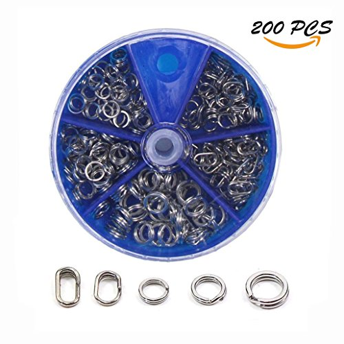 (Croch Double Split Rings Stainless Steel Fishing Tackle 5 Size ( 400 pcs ) (200 pcs))