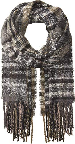 Echo Women's Lofty Plaid Muffler Scarf, Black, One Size