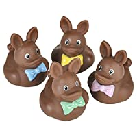 "Rhode Island Novelty 2"" Plastic Chocolate Easter Bunny Rubber Duckies (12 Piece)"