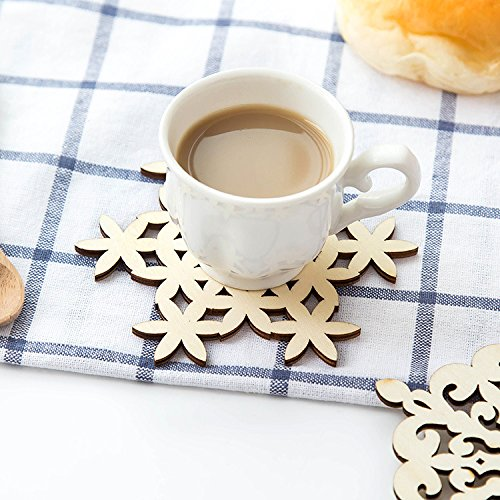 ChipSua 5pcs/Set Wood Coaster Kitchen Christmas Nonslip Place mat Table Mat Decoration for Home Cup Drink Mug Tea Coffee Snowflake Pad -