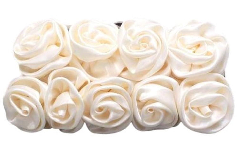 Satin Bridal Clutch Purse Palest Ivory Rose Clutch