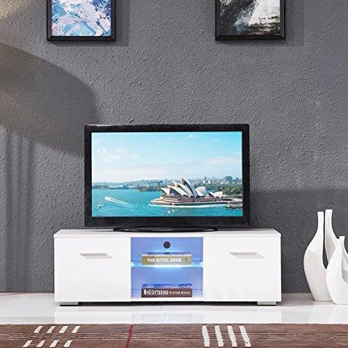 SUNCOO TV Stand Media Console Cabinet LED Shelves with 2 Drawers for Living Room Storage High Glossy White for up to 47-inch TV ()