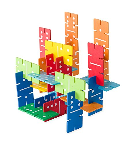 Price comparison product image Dimensional Dominoes Connectagons 112 Piece Wooden 3D Interlocking Toys Building Play Set