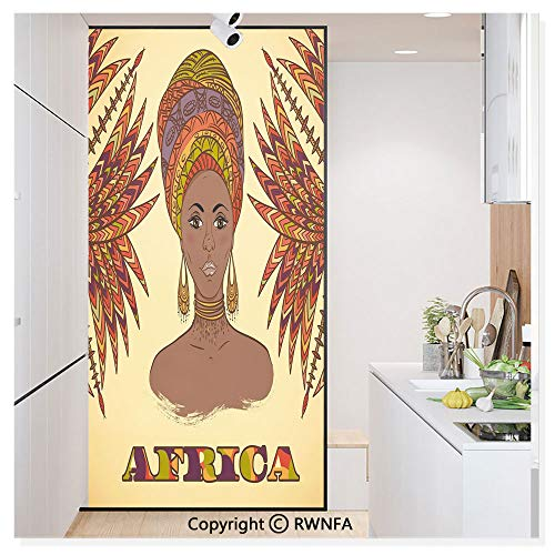 Decorative Privacy Window Film Ethnic Woman in Traditional Turban and Palms Cultural Folk Graphic Art No-Glue Self Static Cling for Home Bedroom Bathroom Kitchen Office,Multicolor