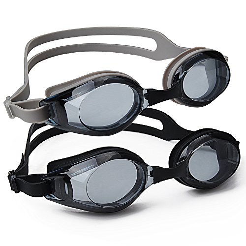Doswim Swimming Goggles, 2 Pack Swim Goggles Anti Fog UV Protection No Leaking Clear Swimming Glasses with Protective Case for Adult Men Women Youth Kids Child(Black&Gray)