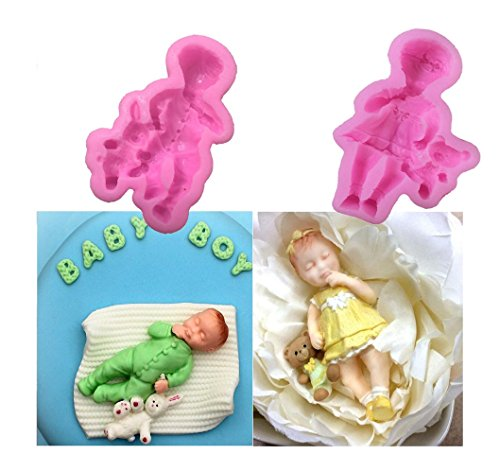 Silicone Molds Baby for Cake Decorating By Garloy,2 Pcs Cupcake Topper Fondant Chocolate Polymer Clay Mold