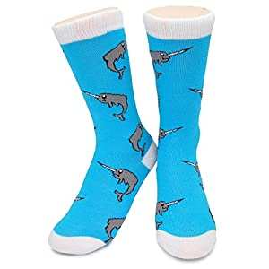 Narwhals Crew Socks by Neon Eaters - Soft, Novelty, Funky, Narwal - Kids, Womens & Mens - 100% comfort guarantee