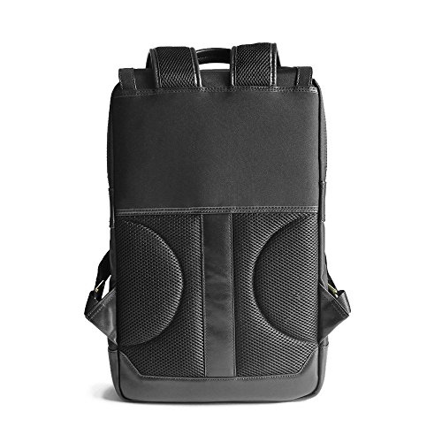 Waterproof Laptop Backpack 17-inch Leather Business Work College School Travel for Women / Men (Black) by Arden Cove (Image #2)