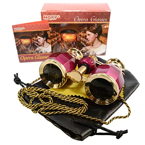 HQRP 4 x 30 Opera Glasses Antique Style Burgundy pearl with Gold Trim w/ Necklace Chain 4x Extra High Magnification with Crystal Clear Optics (CCO)
