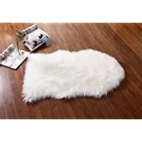 Elliz Super Soft Fuzzy Faux Sheepskin Ivory Area Rug, Warm and Cozy Elegant Chic Style, Ivory White 2ft x 3ft