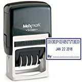 MaxMark Office Date Stamp with DEPOSITED Self Inking Date Stamp - Blue Ink