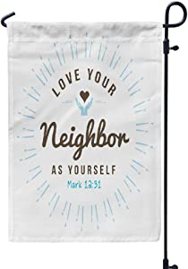 Bliona Jesus Garden Flag, Outdoor Flags Double Sided Love Christian Bible Scripture Seasonal Flag Yard Decorative Flags Weatherproof Flag 12L x 18W inchLight Blue Light