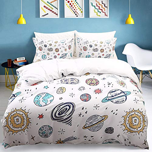 Erosebridal Space Planets Print Boys Duvet Cover Set Twin Size White Universe Theme Star Kids Girls Bedding Sets,Astronomy 3 Pieces Quilt/Comforter Cover Boy Bedding Collection with 2 Pillow Shams