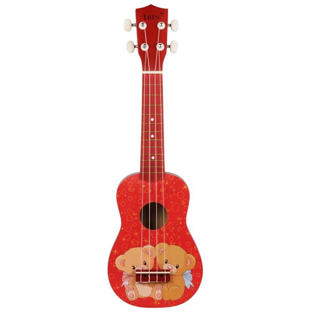 Guitarra 21 Pulgadas 15 Trastes Ukelele Soprano 4 Cuerdas De Nylon Patrón De Guitarra Instrumento Acústico Universal Rojo