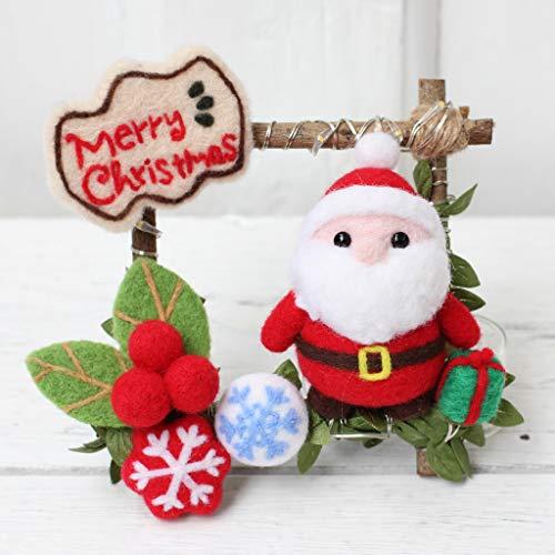 Hacloser Wool Felting Kit Tool Supplies, Christmas Santa Claus Snowflake Rattan Ring with LED Light, DIY Handmade Craft Needle Felting Material Bag ()
