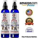Anti Itch Spray for Dogs and Cats | All Natural Hot Spots Treatment | Stops Itching on Contact | Instant Cooling, Soothing, Healing, Relief for Dry Itchy Pet Skin | Made in The USA | Two (4 Oz Bottle)