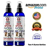 Natural Dog Cat Pet Stop Itching Spray-Two 4oz Bottles! Pet Relief Dog Stop Itching Spray. Cooling Soothing, No Chemicals, all natural stops itching on contact for dogs, cats, birds, and humans.