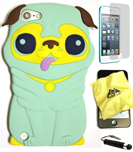 ght Green 3D Dog Cartoon Soft Silicone Case for Ipod Touch 5/6th Generation + Cleaning Cloth + Screen Protector + Metallic Stylus Pen ()
