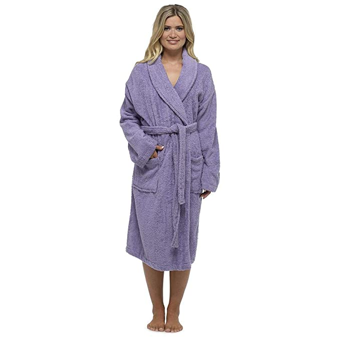 Keanu Ladies 100% Pure Cotton Luxury Terry Towelling Dressing Gown Bathrobe  Highly Absorbent Shawl Collar Towel Bath Wrap  Amazon.co.uk  Clothing d204a2285