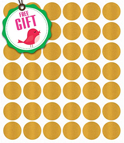Decals Wall Appliques (Gold Polka Dot Wall Decals - Girls Appliques Circle Décor Stickers [207 Art Bedroom clings] with Free Bird Gift!)