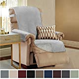 Gorilla Grip Original Slip Resistant Recliner Slipcover Protector, Seat Width Up to 26 Inch Suede-Like, Patent Pending, 2 Inch Straps, Hook, Furniture Cover for Kids, Cats, Pets, Recliner, Charcoal