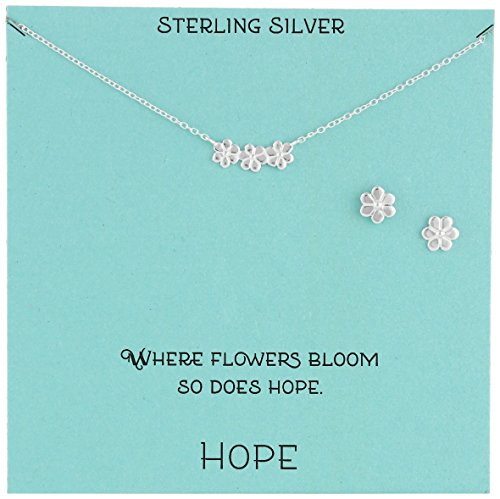 """Sterling Silver Flower Necklace and Earrings Jewelry Set, 18"""""""