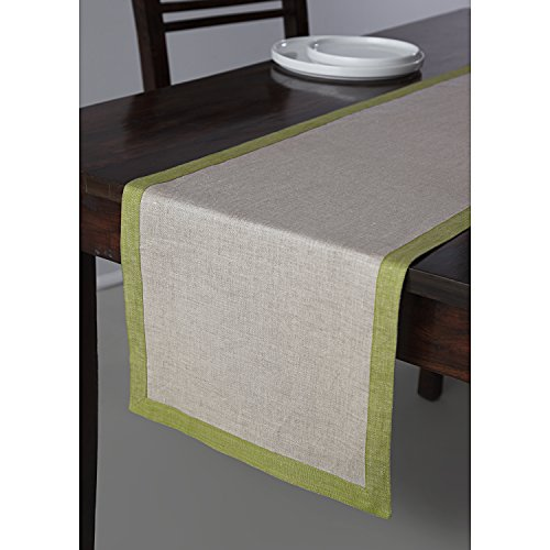 Solino Home Linen Table Runner - 14 x 60 Inch, Natural Olive Rectangular Runner - 100% European Flax, Concordia by Solino Home