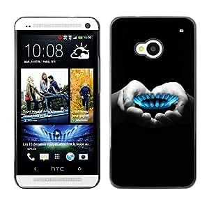 TopCaseStore / la caja del caucho duro de la cubierta de protección de la piel - Heart Hands Black White Deep - HTC One M7