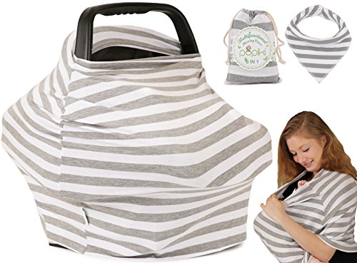 Pupiki Nursing Breastfeeding Cover: Soft, Cute, Stretchy Baby Breastfeeding Scarf w/Carry Bag + Bandana Drool Bib| Top Multipurpose Infant Canopy/Baby Car Seat Cover/Stroller