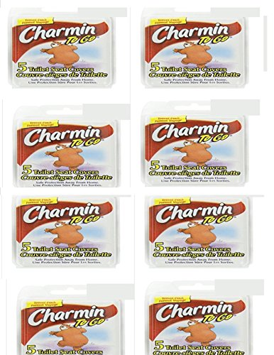CHARMIN TO GO - EIGHT (8) 5PK TOILET SEAT COVERS, TRAVEL, SCHOOL & EMERGENCIES