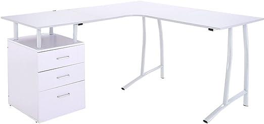 Grande esquina escritorio de ordenador con 3 cajones, mesa oficina ...