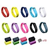 i-smile® 10PCS Replacement Bands with Metal Clasps for Fitbit Flex / Wireless Activity Bracelet Sport Wristband / Fitbit Flex Bracelet Sport Arm Band (No tracker, Replacement Bands Only) & Silicon Fastener Ring For Free (Pack of 10, Small)