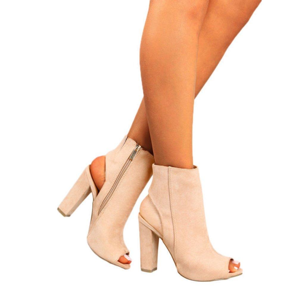 Kootk Damen Sommerschuhe Sandalen Peep Toe High Heels Sandalette 10cm Absatz Schuhe Kurz Stiefel Blockabsatz Pumps Damensandaletten Abendschuhe  35 EU|Beige