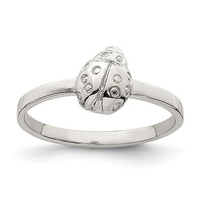 94273ede983d Hermoso anillo de plata de ley 925 bañado en RH para niños con diseño de  mariquita pulida viene con un regalo de joyería gratis  Amazon.es  Joyería