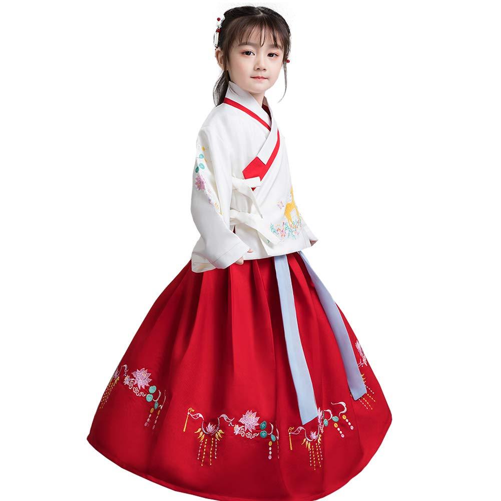 150cm JIE. Les Filles Hanfu Jupe Nouveaux Enfants Costume Hanfu Ensemble, Jeu de rôle, Costumes-Broderie de cerf, 2,130cm
