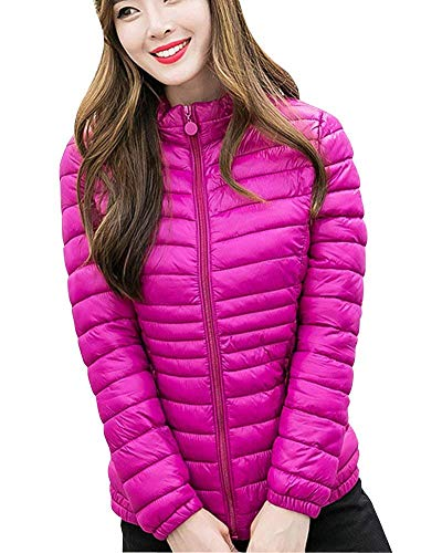 Plumas Larga Casuales Ligeros Mujer Manga Rose Outwear Rot Outdoor Fit Chaqueta Slim Elegantes Empacable Moda De Stand Temporada Talla Battercake Cuello Pluma Mujeres Grande fA8wtqqP