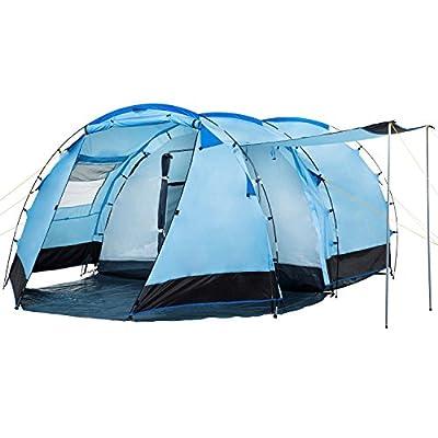 CampFeuer Tunnelzelt für 4 Personen Super+ | Großes Familienzelt mit 2 Eingängen und 3.000 mm Wassersäule | Gruppenzelt…