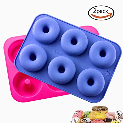 Donut Pan Silicone Yosmi 6 Cavity Non-Stick Donut Tray Dishwasher Oven Microwave Freezer Safe Bake Full Size Perfect Shape Doughnuts Muffin Cups Cake Baking Ring Biscuit Mold(2 Pieces Blue&Rose Red)