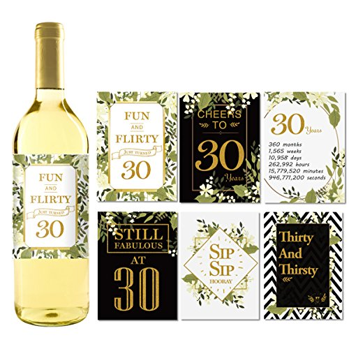 (6 30th Birthday Wine Bottle Labels or Stickers Present, 1979 Bday Milestone Gifts For Her Women, Cheers to 40 Years, Funny Fortylicious Pink Black Gold Party Decorations For Friend, Wife, Girl, Mom)