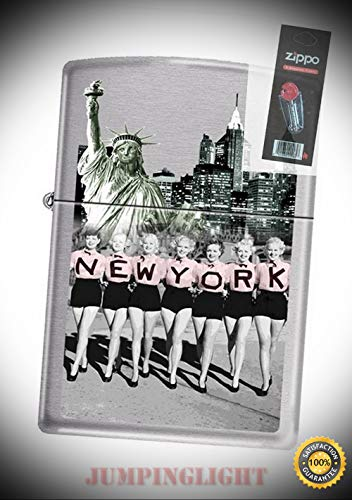 - 3653 New York Girls Sites of ny Brushed Chrome Lighter with Flint Pack - Premium Lighter Fluid (Comes Unfilled) - Made in USA!