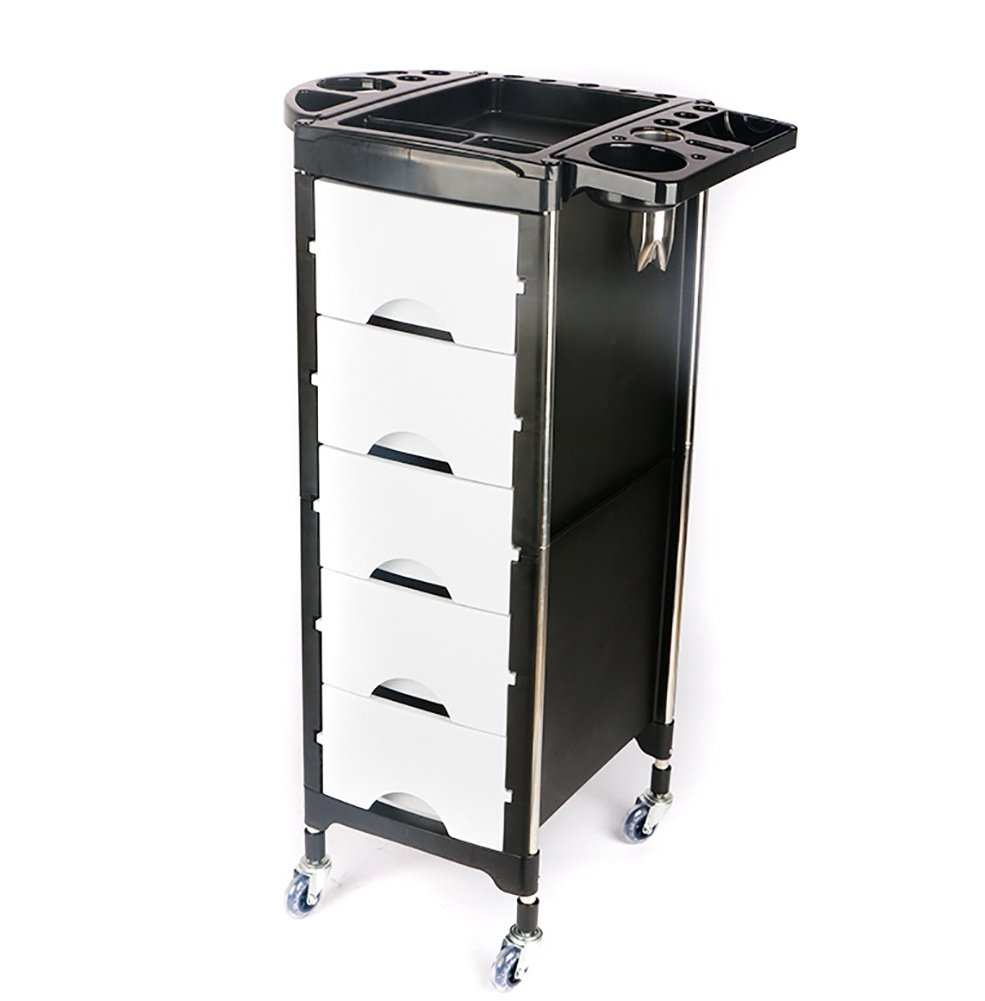 Salon SPA Hairdressing Trolley Salon Cart Beauty Tray Storage Cart Coloring with Hair Dryer Holder 5 Drawers Wheels wexe.com